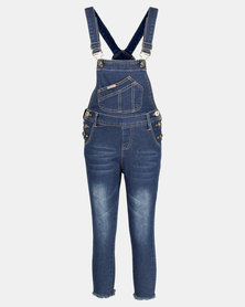 Utopia Girls Denim Dungaree Navy