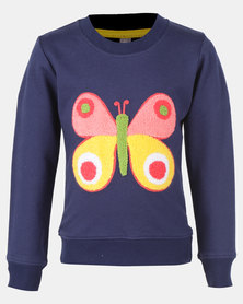 Utopia Toddler Girls Butterfly Sweater Navy
