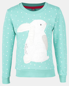 Utopia Toddler Girls Bunny Sweater Mint
