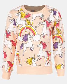 Utopia Toddler Girls Unicorn Sweater Peach