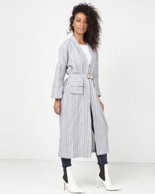Utopia Stripe Linen Kimono Blue/White
