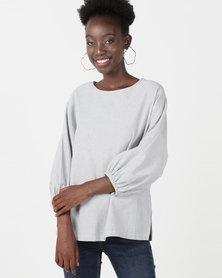Utopia Puff Sleeve Top Grey/White