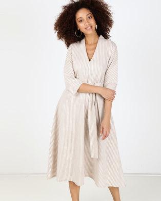 Utopia Stripe Linen Self Tie Flare Dress Stone/White