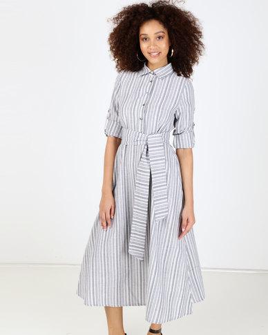 Utopia Stripe Linen Maxi Tunic Dress Blue/White