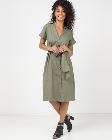 Utopia Linen Button Through Dress Green