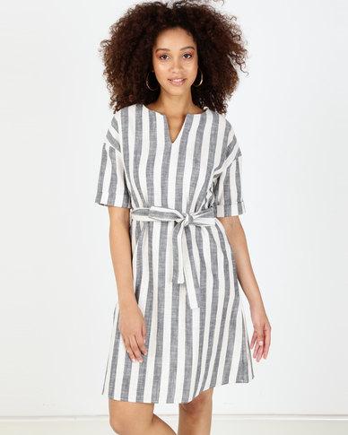 Utopia Stripe Maxi Tunic Dress With Belt Blue/White