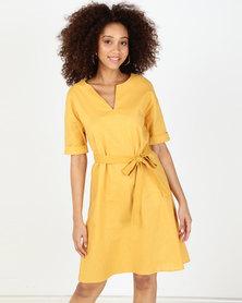 Utopia Tunic Dress With Belt Mustard
