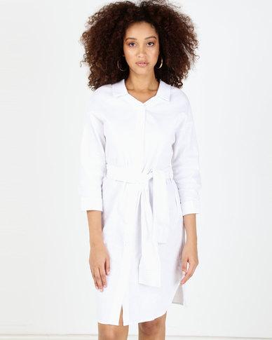 Utopia Linen Shirt Dress White