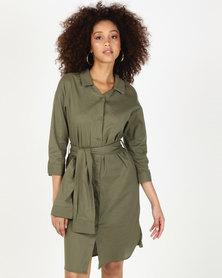 Utopia Linen Shirt Dress Green