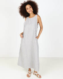 Utopia Stripe Sleeveless Linen Dress Blue/White