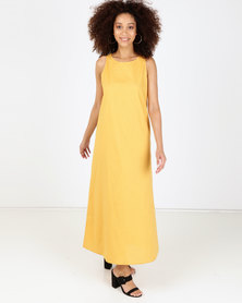 Utopia Sleeveless Linen Dress Mustard