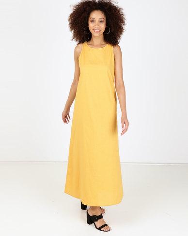 Utopia Sleeveless Linen Dress Mustard