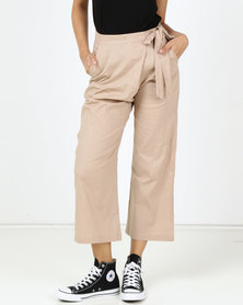 Utopia Linen Wide Leg Trousers Stone