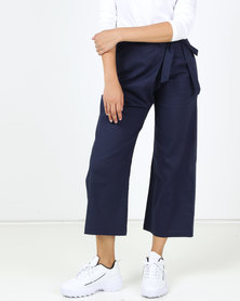 Utopia Linen Wide Leg Trousers Navy