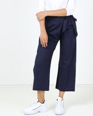 Utopia Linen Wide Leg Trousers Navy