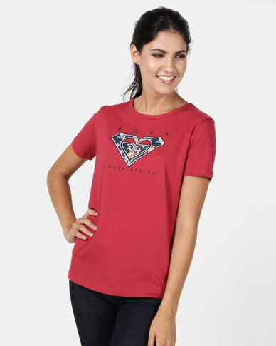 Roxy Garden Lilly Blue Heart Destination T-Shirt Red