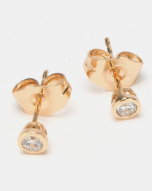 Lily & Rose 4mm Tube Stud Earrings Gold-toned