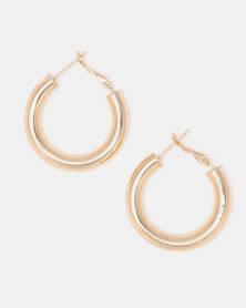 Lily & Rose Shiny Hoop Earrings Goldplated