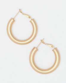 Lily & Rose Goldplated Matte Hoop Earrings Gold-toned