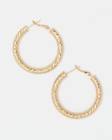 Lily & Rose Goldplated Embossed Hoop Earrings Gold-toned