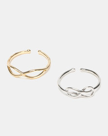 Lily & Rose 2 Pack Adjustable Infinity Rings Multi