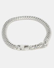Xcalibur Steel Flat Curb Bracelet Silver-Toned