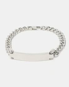 Xcalibur Steel ID Curb Bracelet Silver-Toned