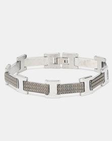Xcalibur Steel Two Tone Grecian Pattern Bracelet Multi
