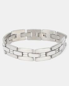 Xcalibur Steel H Pattern Link Bracelet Silver-Toned