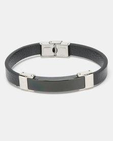Xcalibur Steel Leather ID Bracelet Black