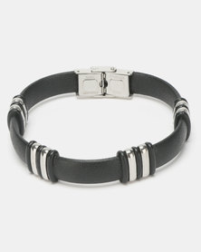 Xcalibur Steel Leather Rubber & Steel Plate Bracelet Black