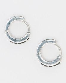 Xcalibur Steel Stone Centre Huggie Earrings Black