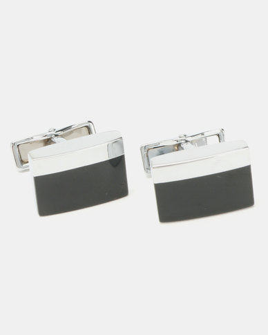 Xcalibur Plated and Black Enamel Cufflinks Silver-Toned