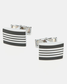 Xcalibur Plated and Linear Pattern Cufflinks Silver-Toned