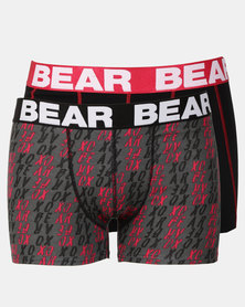 Bear 3 Pack Bear XO Print Bodyshorts Red/Grey
