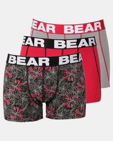 Bear 3pk Techno Flower Print Bodyshorts Red/Grey