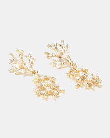 By Cara Coral And Pearl Drop Earrings Gold-toned