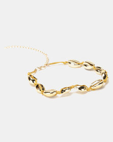 By Cara Gold Cowrie Choker Necklace Gold-toned