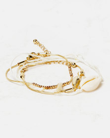 By Cara 3 Pack Cowrie Bracelet Gold-toned