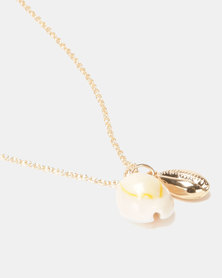 By Cara Cowrie Shell Necklace Gold-tone