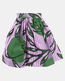Black Buttons Kids Printed Skirt Purple