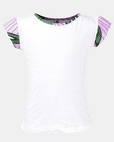 Black Buttons Girls T-Shirt White