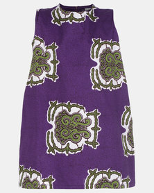 Black Buttons Printed Dress Purple