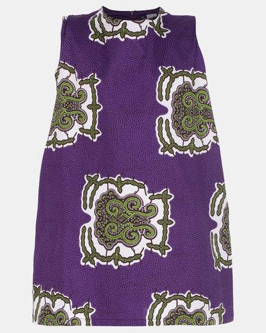 Black Buttons Printed Dress Purple