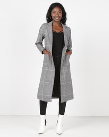New Look Check Bar Back Maxi Coat Black