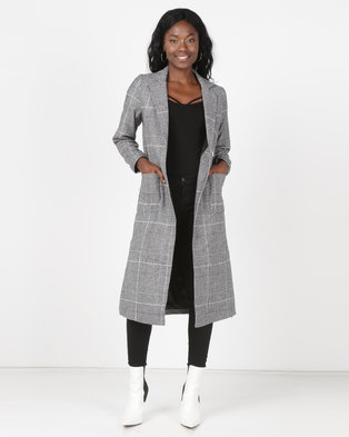New Look Check Bar Back Maxi Coat Black