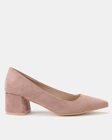Utopia Block Heel Courts Soft Pink
