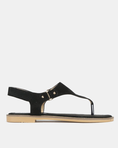 Utopia Faux Suede Sandals Black