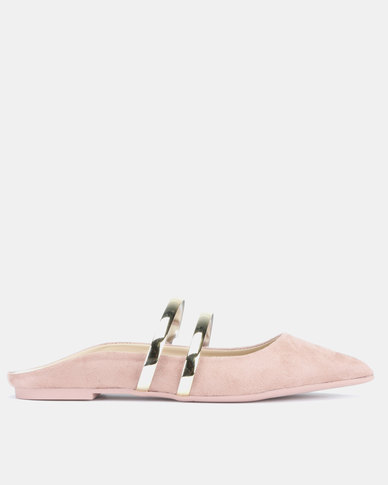Utopia Faux Suede Mules Pink