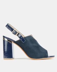 Utopia V Trim Block Heel Sandals Navy